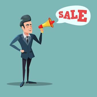 Cartoon zakenman met megafoon verkoopbevordering. grote korting.