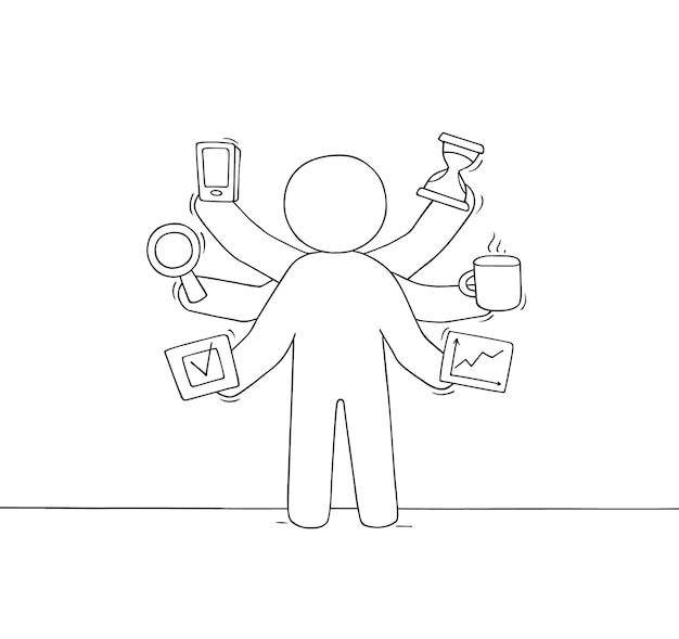 Cartoon zakenman met veel handen. doodle schattige scène over multitasking en werkdruk. hand getekend vectorillustratie voor zakelijke ontwerp.