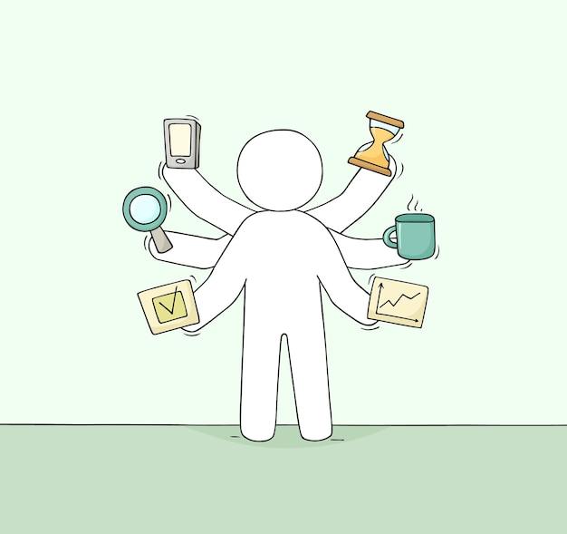 Cartoon zakenman met veel handen. doodle schattige scène over multitasking en werkdruk. hand getekend