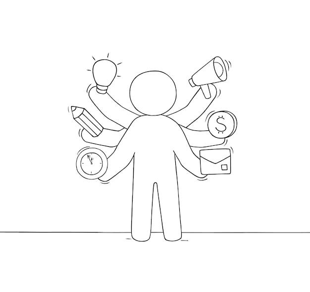Cartoon zakenman met veel handen