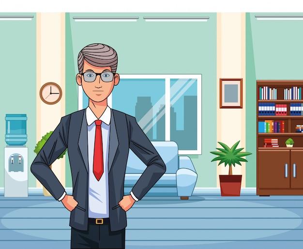 Cartoon zakenman permanent op kantoor woonkamer