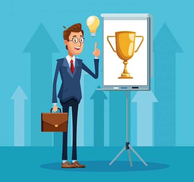 Cartoon zakenman permanent wijzen een presentatie bord met trofee cup pictogram