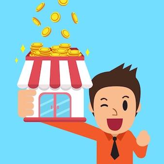 Cartoon zakenman verdienen van geld met zijn bedrijf
