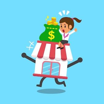 Cartoon zakenvrouw en zakelijke winkel
