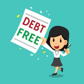 Cartoon zakenvrouw met schuldenvrije brief
