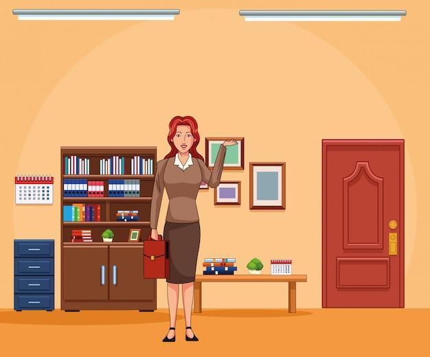 Cartoon zakenvrouw op kantoor landschap achtergrond