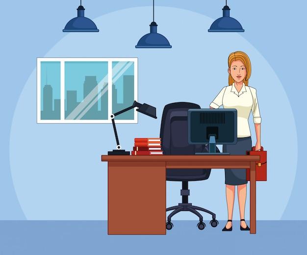 Cartoon zakenvrouw op kantoor