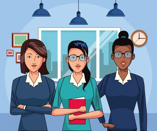 Cartoon zakenvrouwen op kantoor landschap, kleurrijk ontwerp