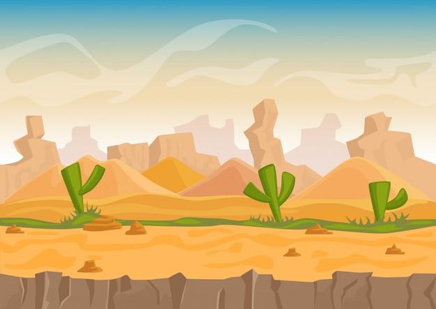 Cartoon zand en stenen rotsen woestijnlandschap met cactussen en stenen bergen. game stijl illustratie