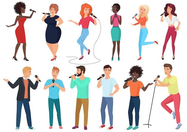 Cartoon zangers met microfoons en muzikanten set geïsoleerd. mensen zingen karaokeliedjes.