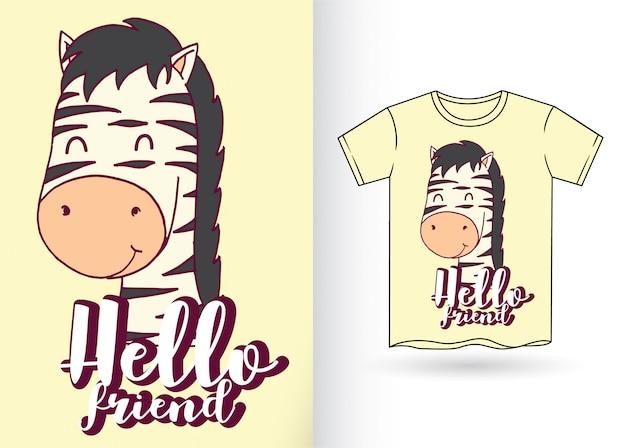 Cartoon zebra hand getekend voor t-shirt