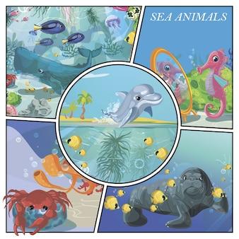 Cartoon zeedieren kleurrijke samenstelling met dolfijn zeepaardje vissen walvis krab zeehond kwallen koralen en zeewier