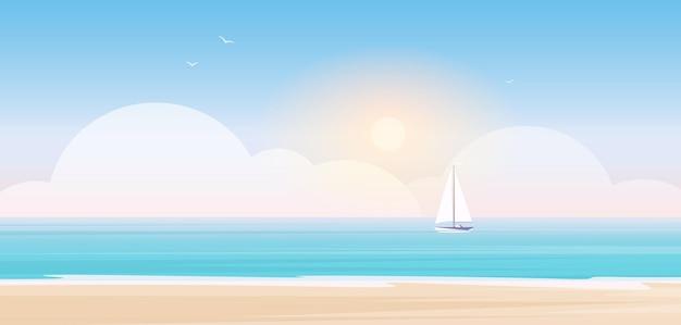 Cartoon zeegezicht landschap met golven van zee of oceaanwater