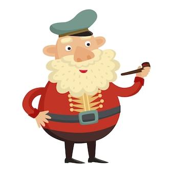 Cartoon zeekapitein geïsoleerd op een witte achtergrond. illustratie.