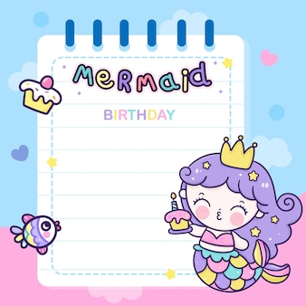 Cartoon zeemeermin kaart voor verjaardagsfeestje kawaii dier memo vel