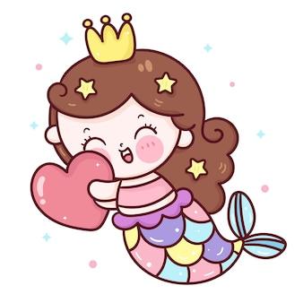 Cartoon zeemeermin knuffel hart voor valentijnsdag kawaii dier