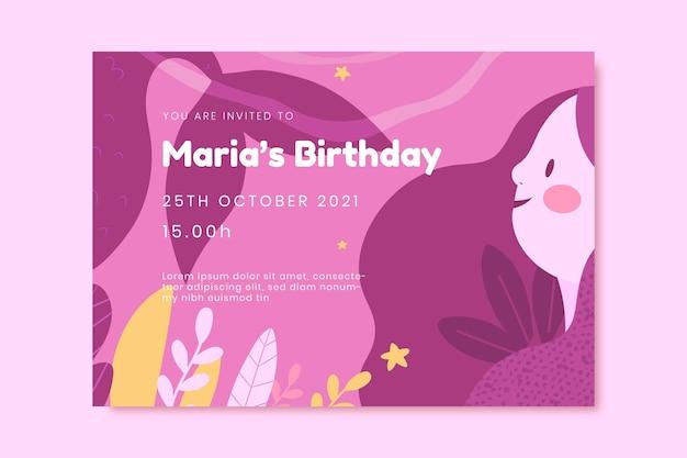 Cartoon zeemeermin verjaardagsuitnodiging