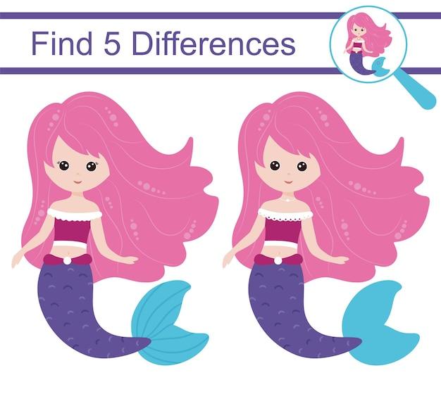 Cartoon zeemeerminnen. zoek 5 verschillen. educatief spel voor kinderen.