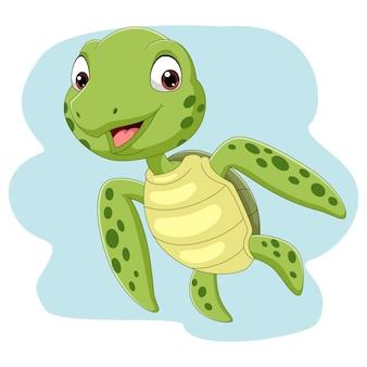 Cartoon zeeschildpad zwemmen in de oceaan