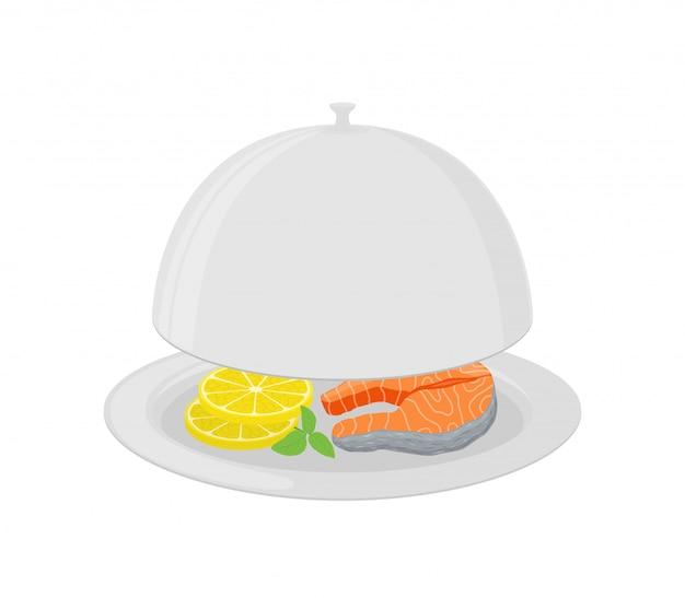Cartoon zilveren cloche met zalm, citroen