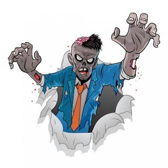 Cartoon zombie van halloween komt uit het gebroken papier