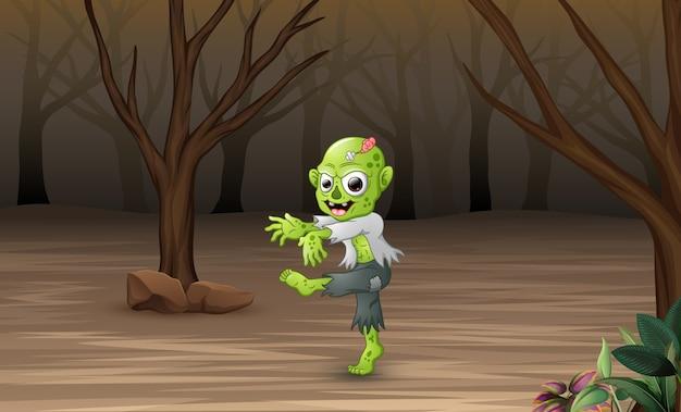 Cartoon zombies in het dode bos
