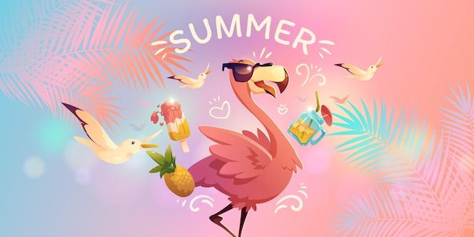 Cartoon zomer achtergrond
