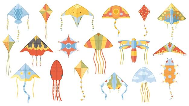 Cartoon zomer buitenactiviteit vliegende papieren vliegers. kinderen kite spelletjes papier speelgoed geïsoleerde vector illustratie set. wind vliegend vliegerspeelgoed voor kinderen