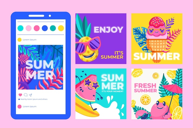 Cartoon zomer instagram posts collectie