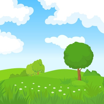 Cartoon zomer landschap met groene bomen en witte wolken in blauwe hemel.