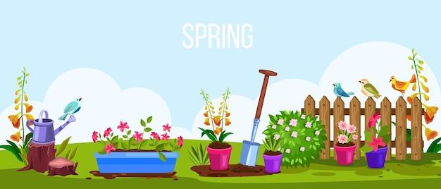 Cartoon zomer tuinieren bloemen landschapsscène. lente tuin milieu eco concept