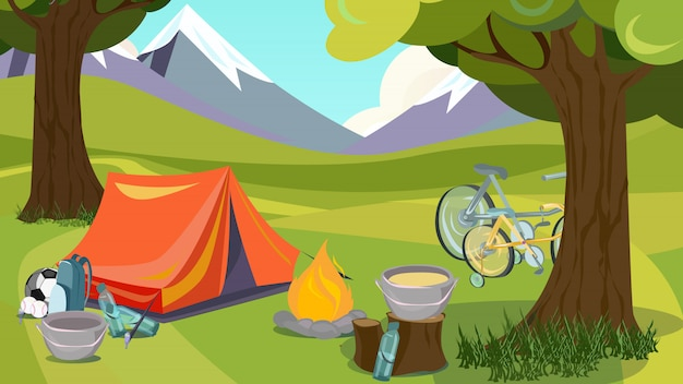Cartoon zomercampeertent houten bergvallei