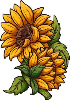 Cartoon zonnebloem