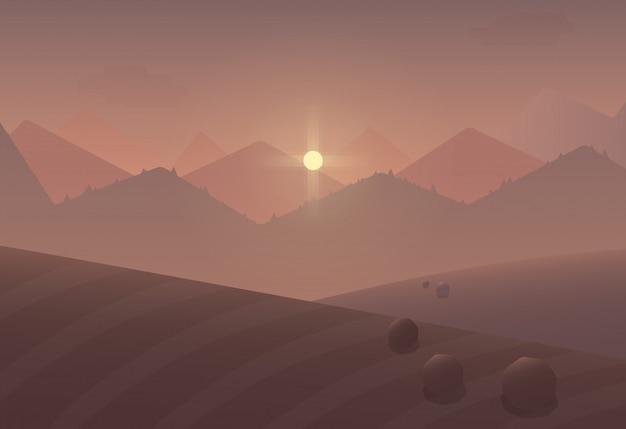 Cartoon zonsondergang berglandschap achtergrond