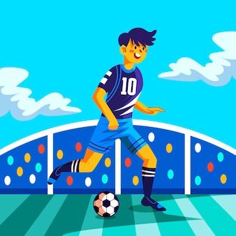 Cartoon zuid-amerikaanse voetballer illustratie