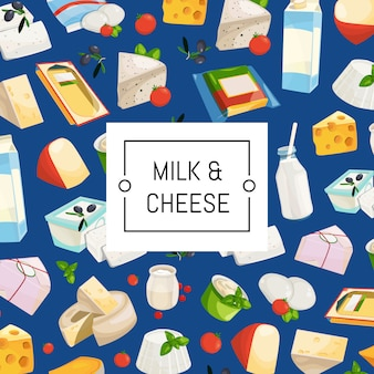 Cartoon zuivel- en kaasproducten achtergrond