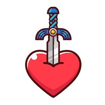 Cartoon zwaard tekening stok op een hart.