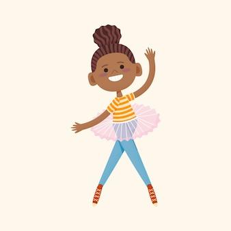 Cartoon zwart meisje illustratie in tutu rok