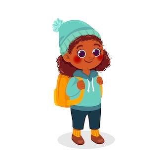 Cartoon zwart meisje illustratie met rugzak