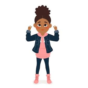 Cartoon zwart meisje illustratie