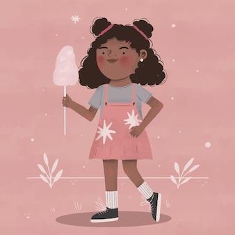 Cartoon zwart meisje illustratie Premium Vector