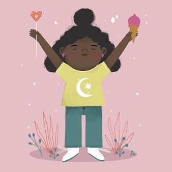 Cartoon zwart meisje illustratie Gratis Vector