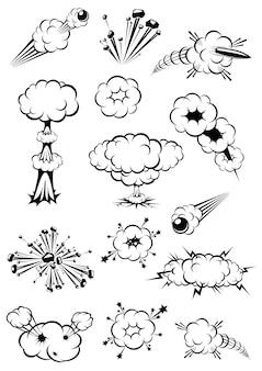Cartoon zwart-wit explosies van bommen en bewegingssporen van kogels