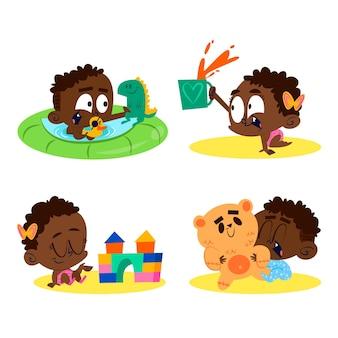 Cartoon zwarte baby collectie