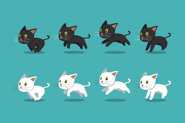 Cartoon zwarte kat en witte kat lopende stap