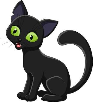 Cartoon zwarte kat geïsoleerd op een witte achtergrond