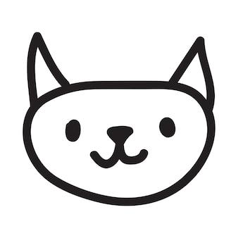 Cartoon zwarte kat tekening eenvoudig en schattig kitten silhouet
