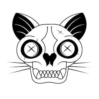Cartoon zwarte kattenkop met schedel, schattige schrödinger s kattenillustratie, half dood en levend. grappig halloween-illustratiesontwerp.
