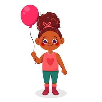 Cartoon zwarte meisje illustratie met ballon