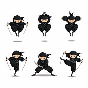 Cartoon zwarte ninja set actie met sprong
